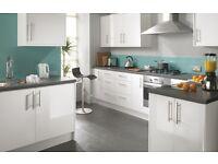 Complete white gloss slab kitchen - £695