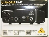 Behringer U-PHORIA UM2, You will need this for any condenser microphone such as a rode.