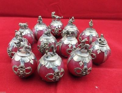 Chinese Tibetan Silver Red Jade Carving Zodiac Statue Collection 12 D02