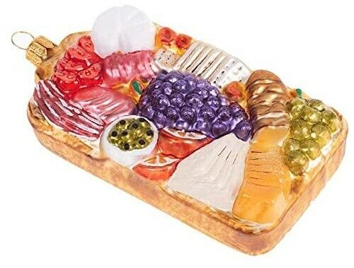 Snack Board Charcuterie Polish Glass Christmas Tree Food Ornament 110284