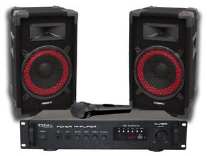 Ibiza Sound DJ150 Disco DJ Speaker Bluetooth USB PA System Package + Mic/Cables