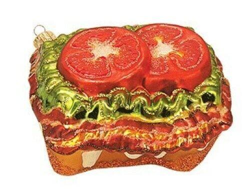 BLT Open Face Sandwich Bacon Lettuce Food Polish Glass Christmas Ornament 110265