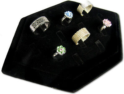Heavy Duty 14 Clip Black Velvet Ring Pendent Jewelry Display Stand Case Rd48b1