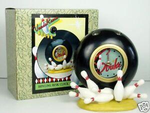 Bowlers Retro Design Bowling Ball & Pins Bowl O Rama Desk Clock by Vandor NIB
