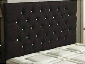 Superking Wall mounted black chenille diamonte button headboard