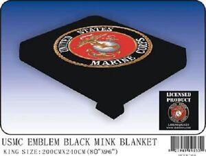 Black USMC Marines Marine Corps Flag King/Queen Mink Throw Blanket (80