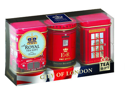 "☕""City of London"", 3 x 25g Tea Caddies London Souvenir English Tea Gift Set☕"