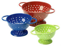 Set of 3 Colored Powder Coated Mini Colanders Red Blue Green