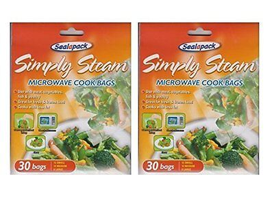 2 x 30 Simply Steam Microwave Cook Bags Meat Vegetables Fish
