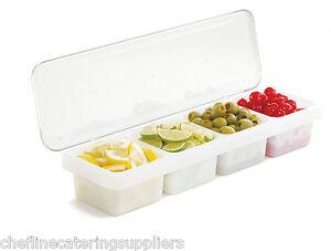 4 Compartment Bar Caddy, Cocktail Accessories, Storage Unit, Garnish, Spices