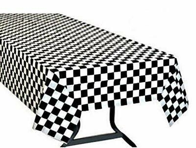 Black And White Checkered Tablecloth (Pack 6 Black & White Checkered Flag Table Cover Party Favor/Checkered)