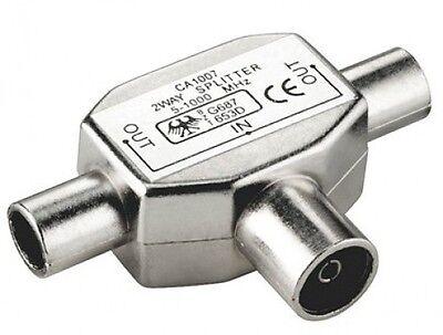 goobay 2 fach tv geräte splitter fernseher T verteiler Y adapter metall weiche