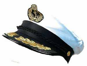 DELUXE CAPTAIN HAT SEA MARINE PEAKED CAP SAILOR FANCY DRESS COSTUME ACCESSORY