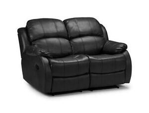 Black Leather 2 Seater Recliner Sofa  sc 1 st  eBay : black 2 seater recliner sofa - islam-shia.org