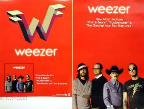 WEEZER 2009 red LP double sided tour promotional poster Flawless New Old Stock
