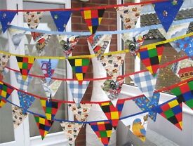 HOMEMADE DOUBLE-SIDED CHILDRENS BOYS PARTY BUNTING £5 a 3 metre length