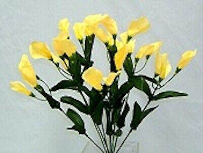 27 Mini Calla Lilies YELLOW Bush Wedding Bouquet Centerpieces Silk Flowers Yellow Bouquet Flowers