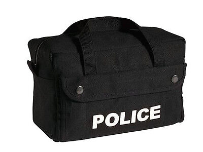 New Heavyweight Black Canvas Police Duty Tactical Equipment Bag -small Size