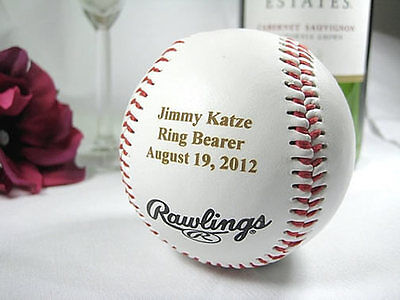 Personalized Engraved Rawlings Baseball Groomsman Ring Bearer Gift - Ring Bearer Gift