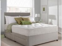 Small double divan grey suede bed with mattress - 4ft 6