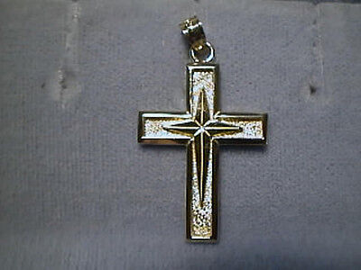Cross in Cross design 1.25 inches clean look 14K Yellow Gold
