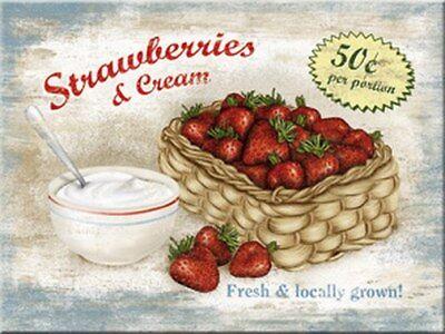 Magnet 14211 - Strawberries & Cream - 8 X 6 cm - Neu
