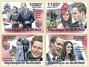 Royal Wedding Prince William & Kate set 4 val Burundi 2011 Sc.1001-04 #BUR11310a - Olsztyn, Polska - Royal Wedding Prince William & Kate set 4 val Burundi 2011 Sc.1001-04 #BUR11310a - Olsztyn, Polska