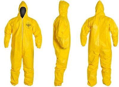Tychem Tyvek Qc127 Or C5428 Chemical Hazmat Suit Medium Yellow New Size Medium