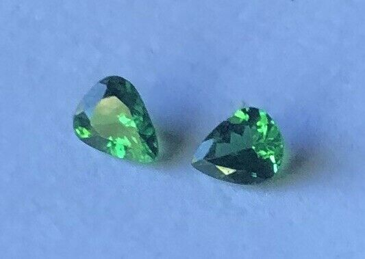 Lot of Two - Natural Pear Cut Tsavorite Garnet Gemstones VVS