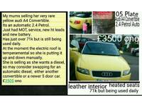 Yellow Audi A4 Convertible 05 Plate Automatic 2.4 V6 petrol