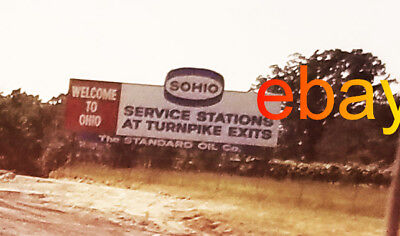 1969 Orig Slide~SOHIO Motor Oil-BIllboard WELCOME TO OHIO-vtg photo state border
