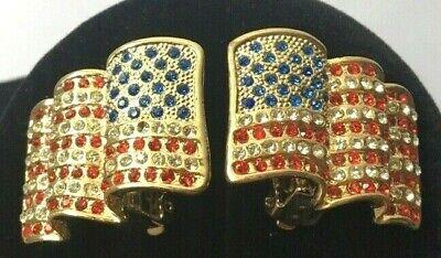 American Flag Clip On Earrings Gold Tone Crystal Rhinestone Patriotic Jewelry](Patriotic Jewelry)