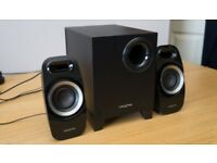 Boxed Creative A250 2.1 Speaker System for TV/Console/Home Stereo. Downward firing, ported subwoofer