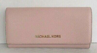 053caf3d1316b2 New Michael Kors Jet Set Travel Carryall Flap wallet Pebble Leather Blossom