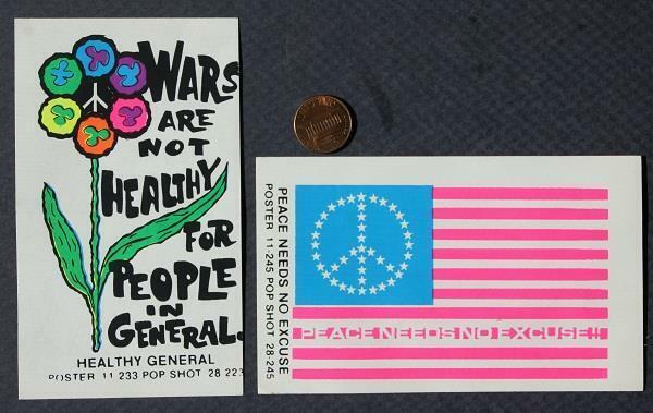 1960-70s Hippy Era Vietnam War Peace Protest unused 2-TWO sticker set-UNCOMMON!*