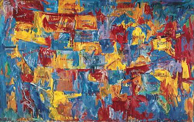 Map Jasper Johns United States America Abstract Warm Colors Print Poster 68x47