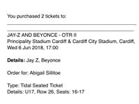 2 x Beyoncé / JayZ on the run tickets