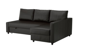 Brand new black leather IKEA pull out couch, 50% off!