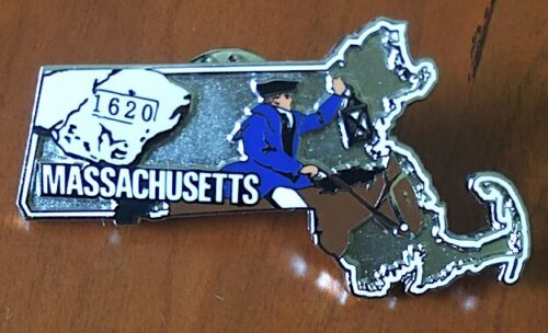 MASSACHUSETTS Willabee & Ward STATE PIN United States Collector Pins + INFO CARD