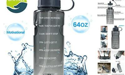 Half Gallon 64 OZ Water Bottle with Straw & Time Marker, BPA Free Reusable