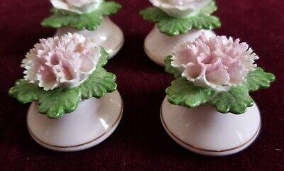 Set of 4 Vintage Denton of England Bone China Flowers Pots Salt Pepper Shakers