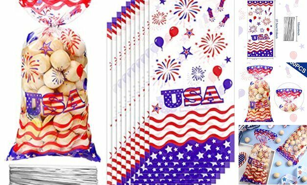 100 Pieces Patriotic Cellophane Treat Bags, Independence Day 4th of July
