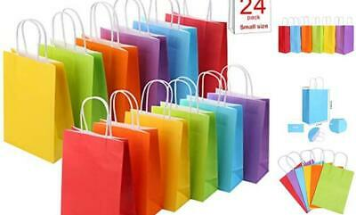 24 Pieces Kraft Paper Party Favor Bags with Handle Assorted Colors Rainbow
