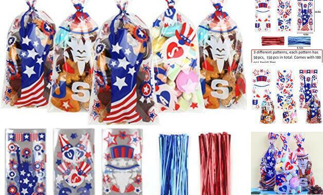 4th of July Cellophane Candy Bags,150 Pcs Patriotic Treat Goodie Cello Bags