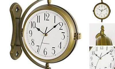 13inch Metal Case Double Side Clock. Antique Tin Look. Indoor/Outdoor Garden