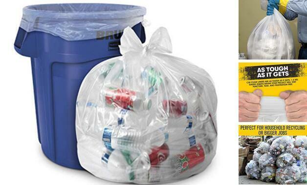 "Clear Trash Bags - (Huge 100 Pack) - 33"" x 39"" - 1.5 MIL 33 Gallon 1.5 MIL (eq)"