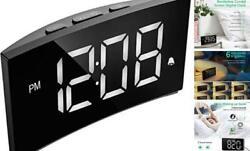 PICTEK Digital Alarm Clock, 5 Curved Dimmable LED Screen, Digital Clock for Kid