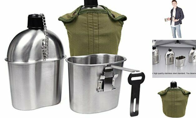 Stainless Steel US Military Canteen 1QT Canteen With 0.5 Grab Handle Cup