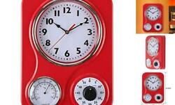 New Lily's Home Retro Kitchen Wall Clock with Thermometer & 60 Minute Timer Red