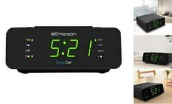 "Emerson SmartSet Alarm Clock Radio with AM/FM 0.9"" Jade Green LED clock display"